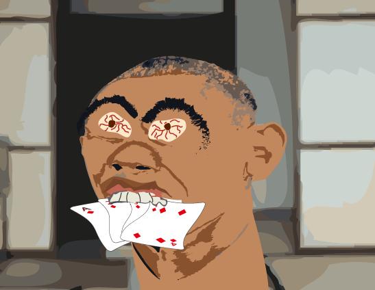 南馬宿の民宿の和室でトランプを咥えるオバマ氏
